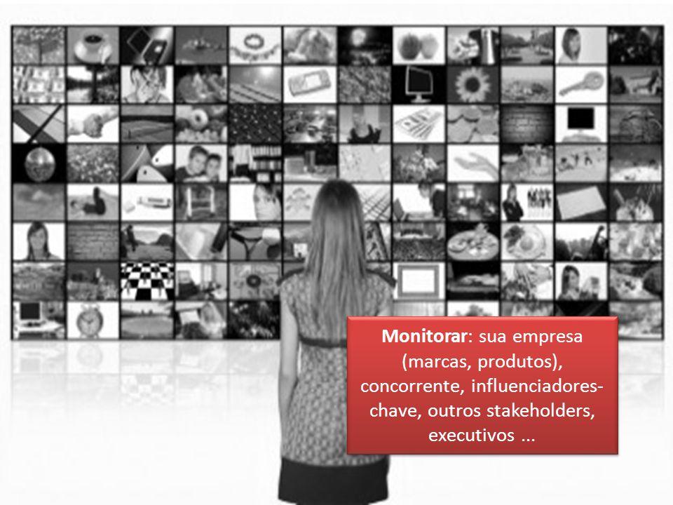 N Monitorar: sua empresa (marcas, produtos), concorrente, influenciadores- chave, outros stakeholders, executivos...