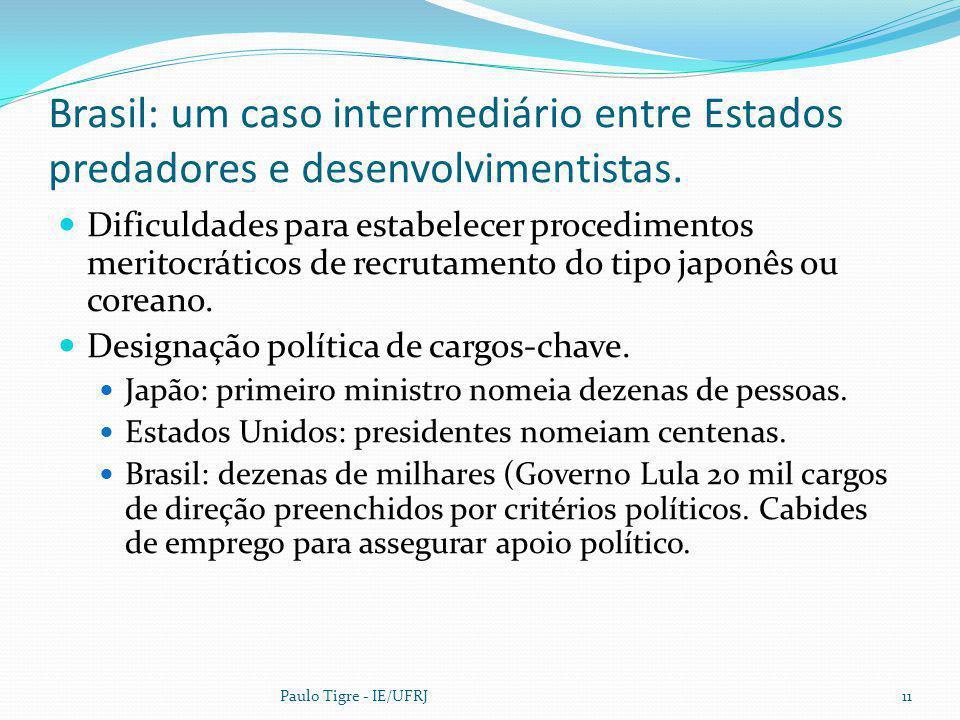 Brasil: um caso intermediário entre Estados predadores e desenvolvimentistas. Dificuldades para estabelecer procedimentos meritocráticos de recrutamen