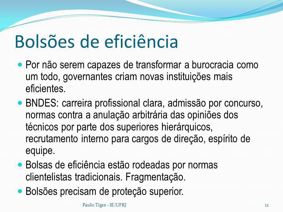 Bolsões de eficiência Por não serem capazes de transformar a burocracia como um todo, governantes criam novas instituições mais eficientes. BNDES: car