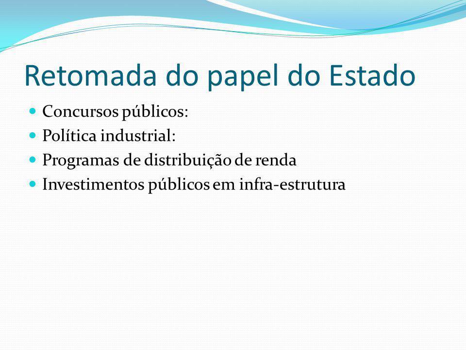 Retomada do papel do Estado Concursos públicos: Política industrial: Programas de distribuição de renda Investimentos públicos em infra-estrutura