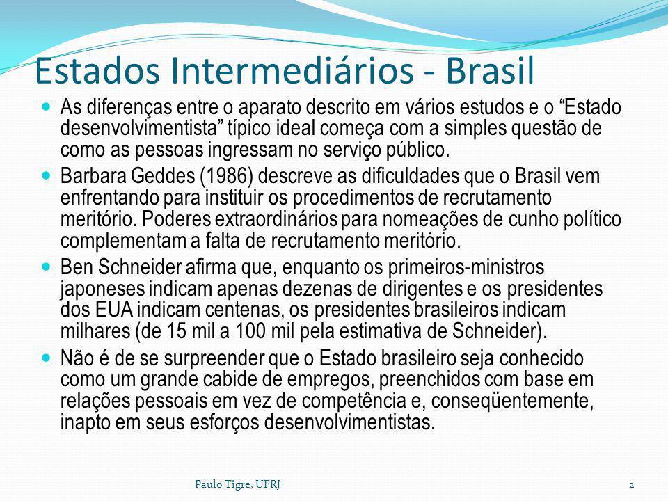Estados Intermediários - Brasil As diferenças entre o aparato descrito em vários estudos e o Estado desenvolvimentista típico ideal começa com a simpl