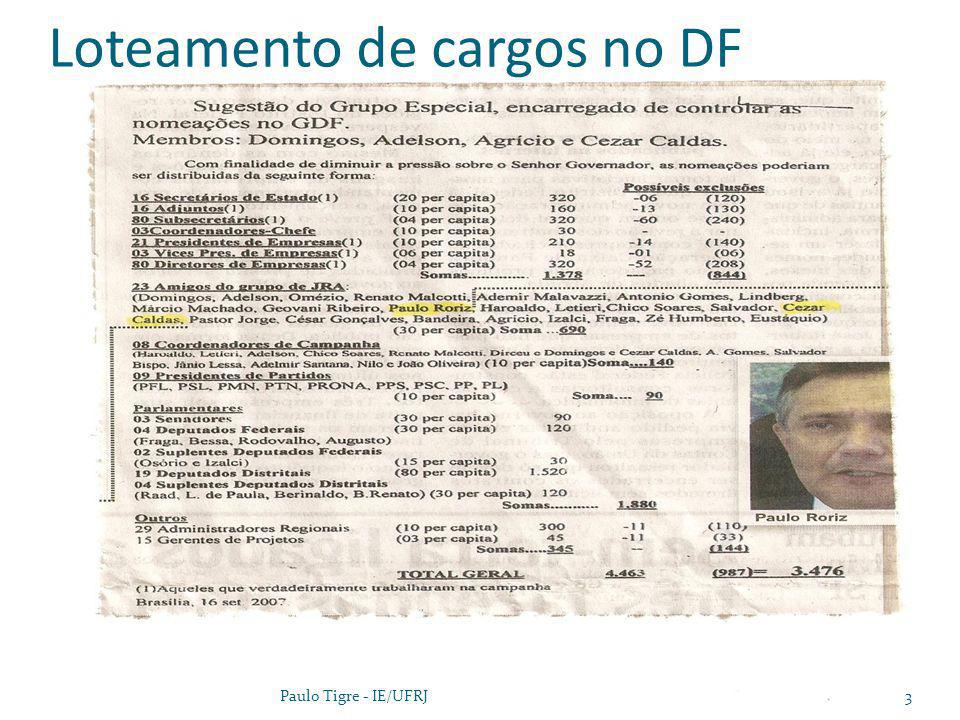 Paulo Tigre, UFRJ4 Incapaz de transformar a burocracia como um todo, os líderes políticos tentam criar bolsões de eficiência dentro da burocracia, modernizando assim o aparato do Estado por adição e não por transformação.