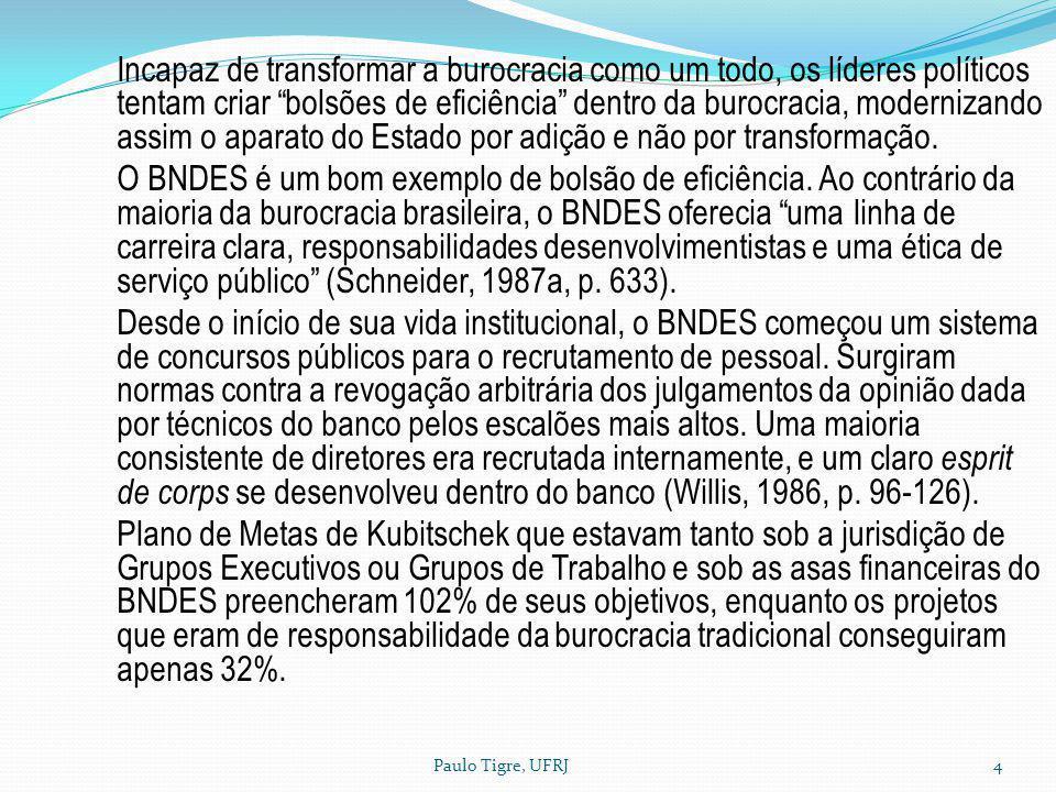 Paulo Tigre, UFRJ4 Incapaz de transformar a burocracia como um todo, os líderes políticos tentam criar bolsões de eficiência dentro da burocracia, mod