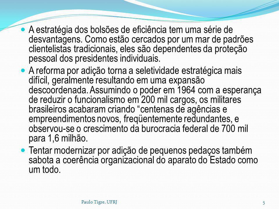Paulo Tigre, UFRJ5 A estratégia dos bolsões de eficiência tem uma série de desvantagens. Como estão cercados por um mar de padrões clientelistas tradi