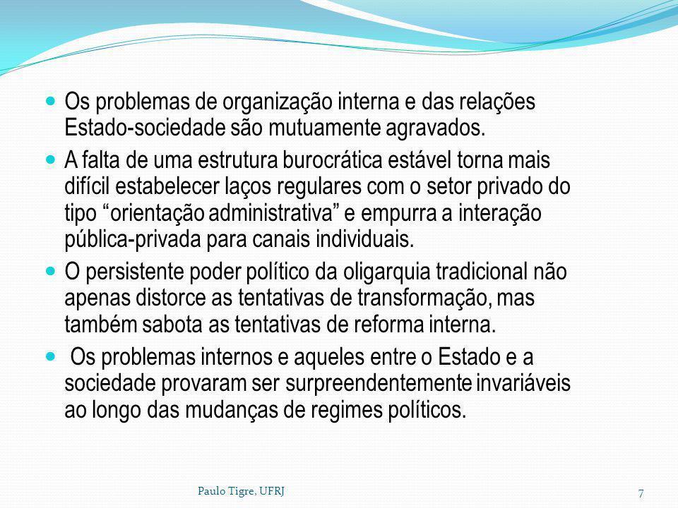Paulo Tigre, UFRJ7 Os problemas de organização interna e das relações Estado-sociedade são mutuamente agravados. A falta de uma estrutura burocrática