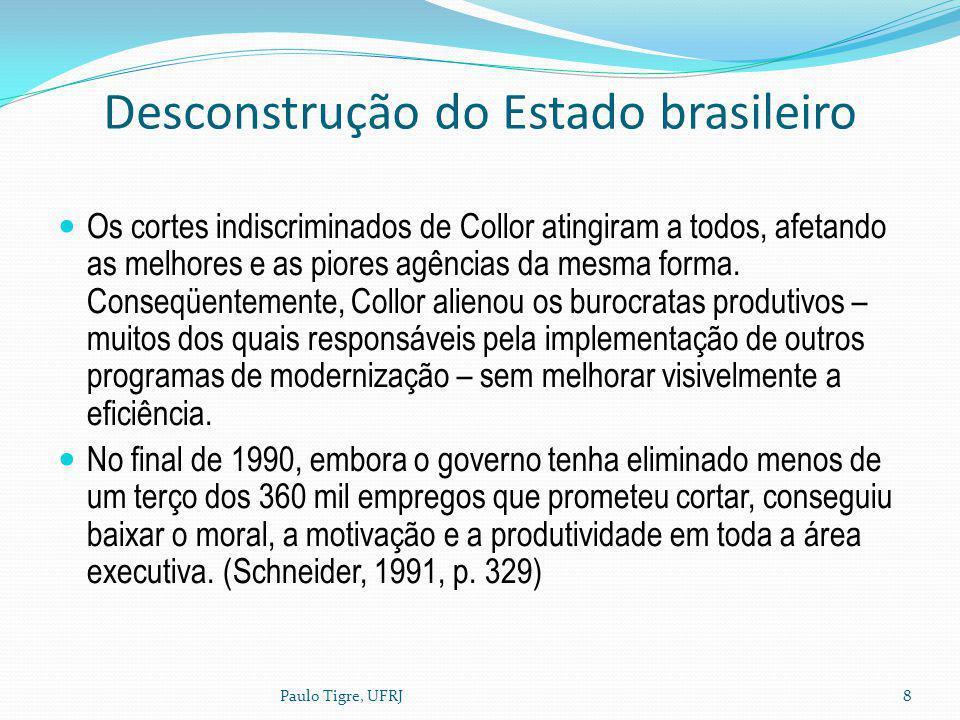 Desconstrução do Estado brasileiro Os cortes indiscriminados de Collor atingiram a todos, afetando as melhores e as piores agências da mesma forma. Co