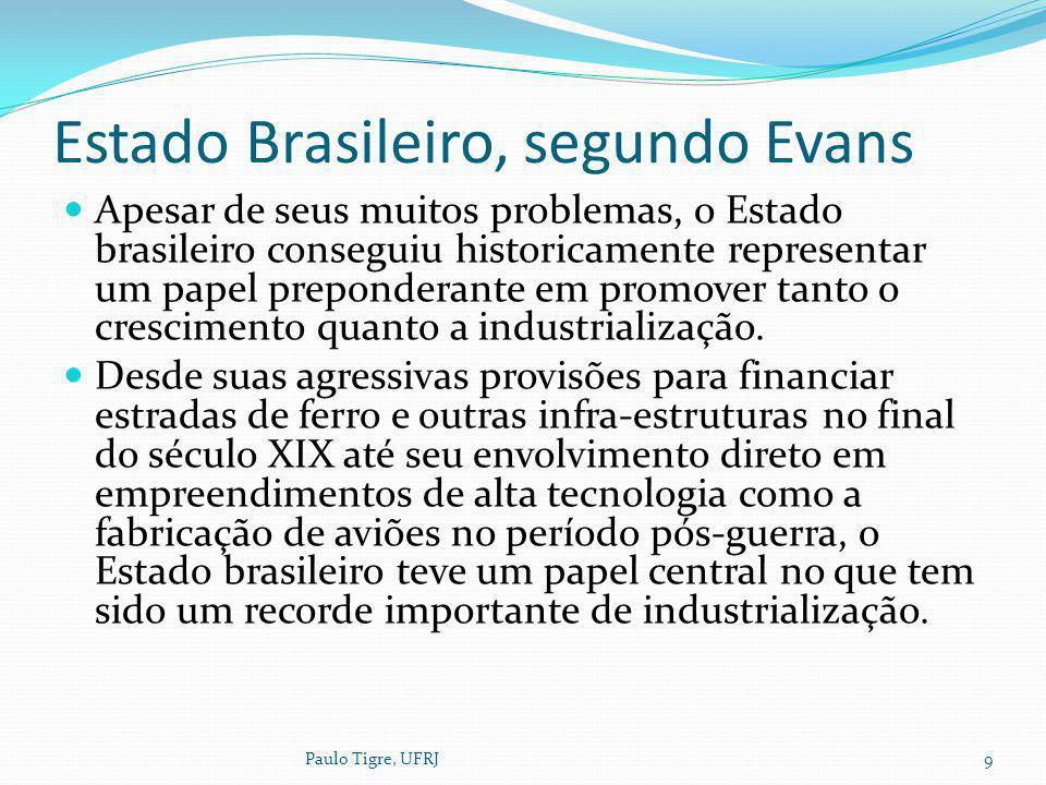 Estado Brasileiro, segundo Evans Apesar de seus muitos problemas, o Estado brasileiro conseguiu historicamente representar um papel preponderante em p