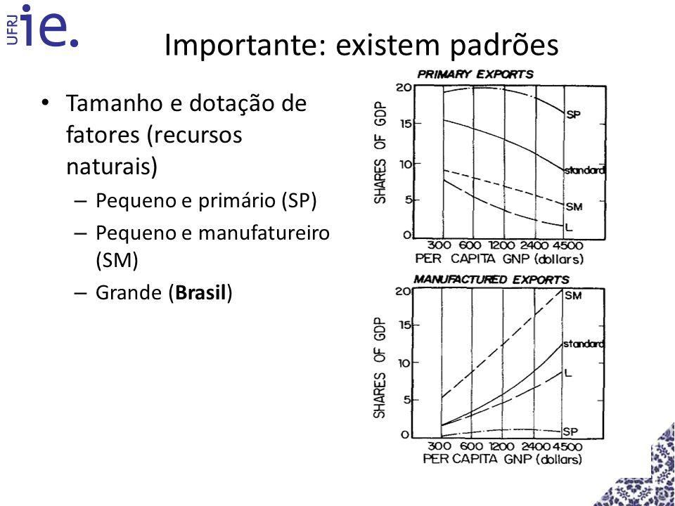 Importante: existem padrões Tamanho e dotação de fatores (recursos naturais) – Pequeno e primário (SP) – Pequeno e manufatureiro (SM) – Grande (Brasil
