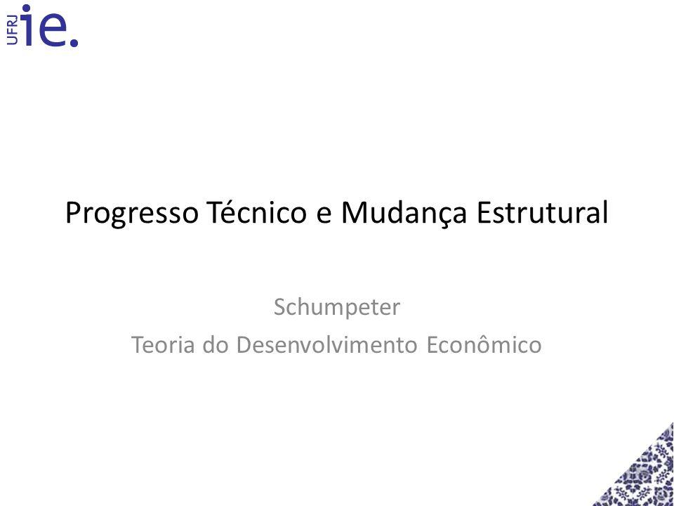 Progresso Técnico e Mudança Estrutural Schumpeter Teoria do Desenvolvimento Econômico