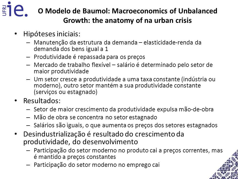 O Modelo de Baumol: Macroeconomics of Unbalanced Growth: the anatomy of na urban crisis Hipóteses iniciais: – Manutenção da estrutura da demanda – ela