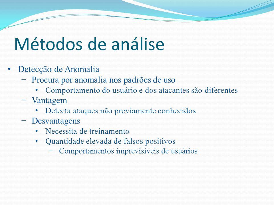 Métodos de análise Detecção de Anomalia Procura por anomalia nos padrões de uso Comportamento do usuário e dos atacantes são diferentes Vantagem Detec