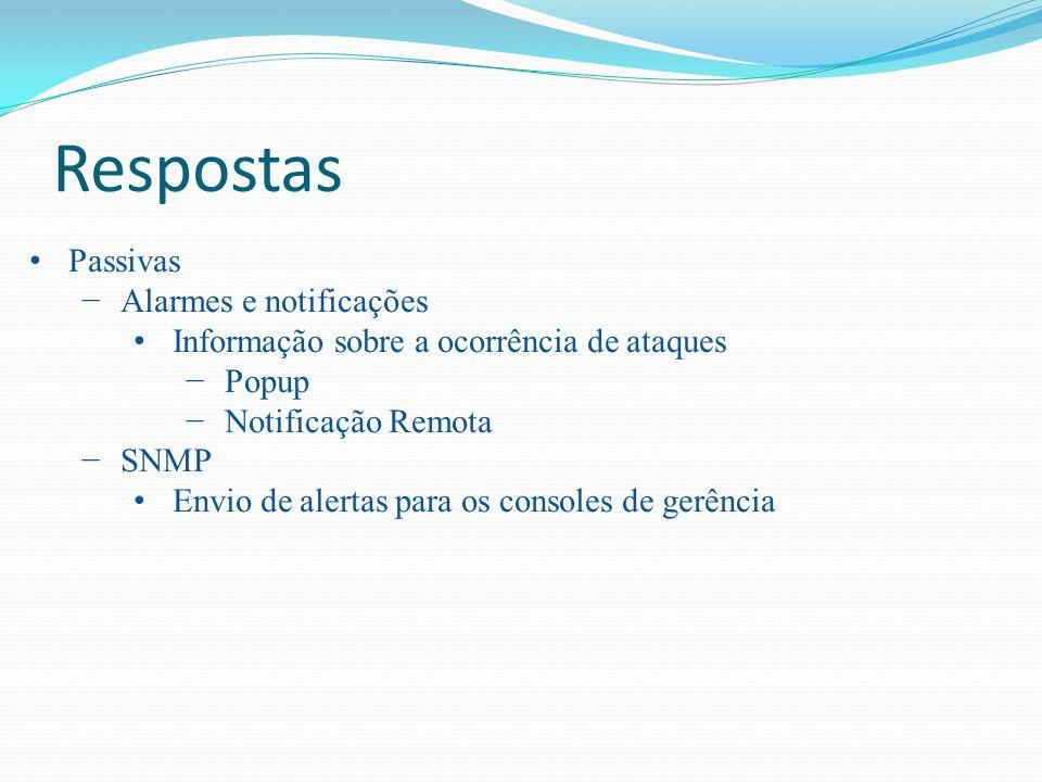 Respostas Passivas Alarmes e notificações Informação sobre a ocorrência de ataques Popup Notificação Remota SNMP Envio de alertas para os consoles de
