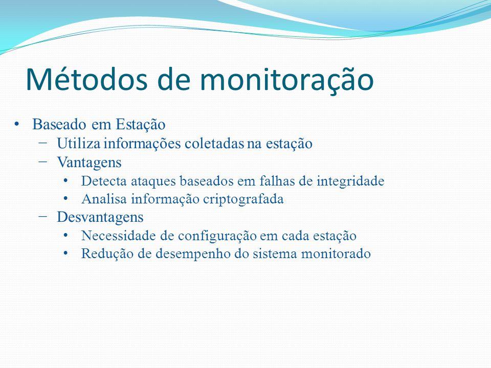 Métodos de monitoração Baseado em Estação Utiliza informações coletadas na estação Vantagens Detecta ataques baseados em falhas de integridade Analisa