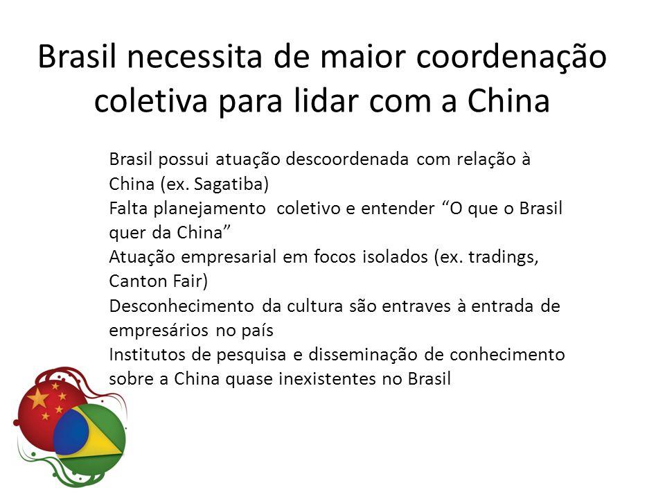 Brasil possui atuação descoordenada com relação à China (ex. Sagatiba) Falta planejamento coletivo e entender O que o Brasil quer da China Atuação emp