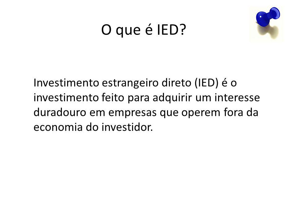 O que é IED? Investimento estrangeiro direto (IED) é o investimento feito para adquirir um interesse duradouro em empresas que operem fora da economia