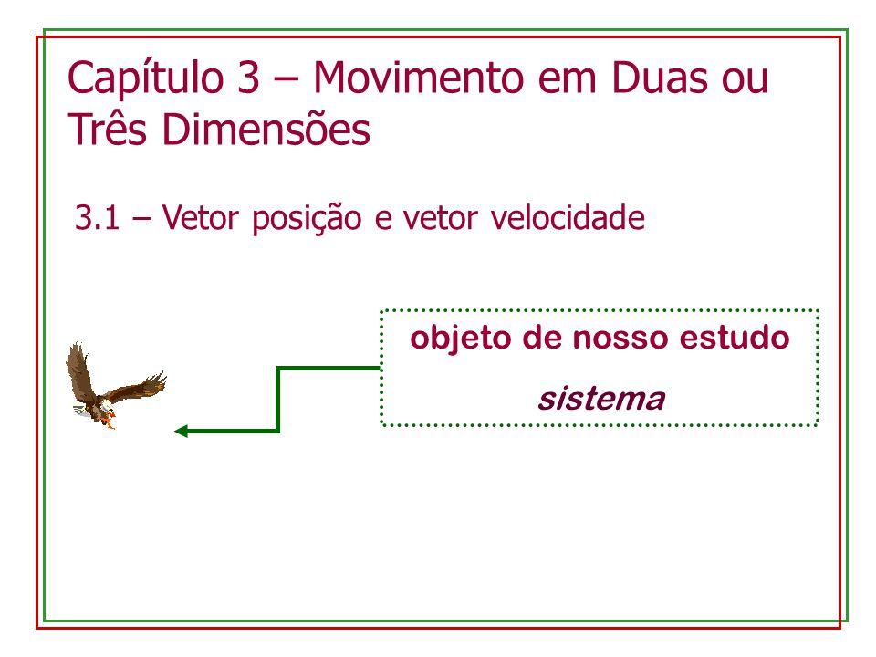 Capítulo 3 – Movimento em Duas ou Três Dimensões 3.1 – Vetor posição e vetor velocidade objeto de nosso estudo sistema