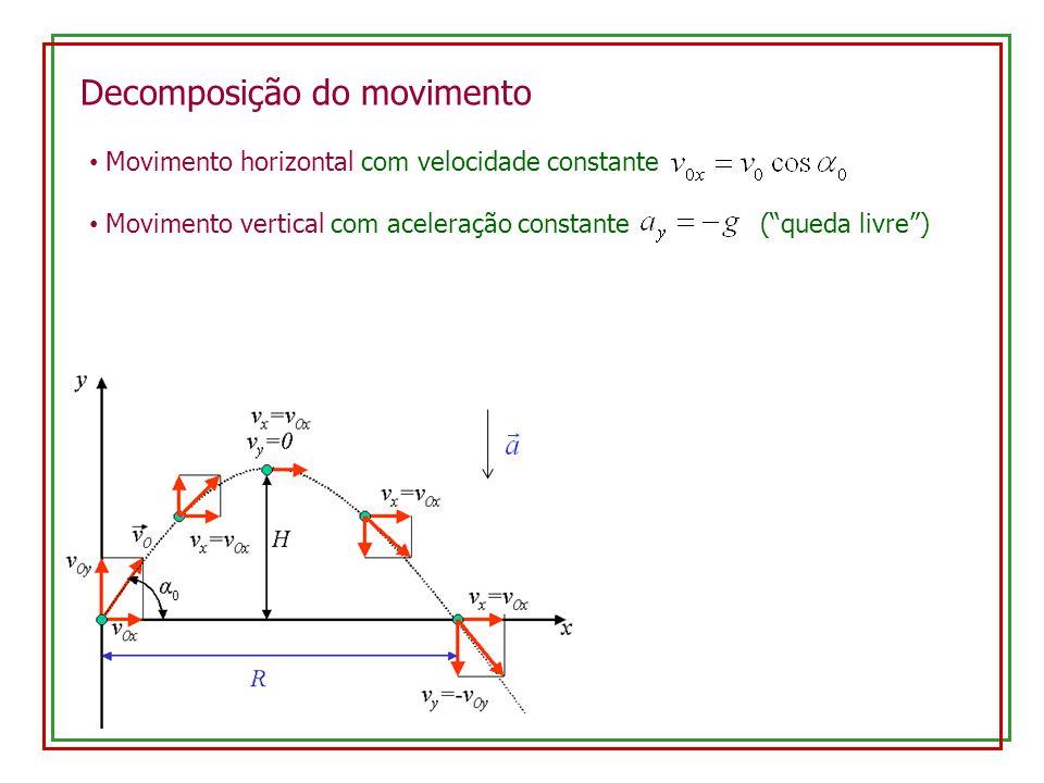 Decomposição do movimento Movimento horizontal com velocidade constante Movimento vertical com aceleração constante (queda livre) 0
