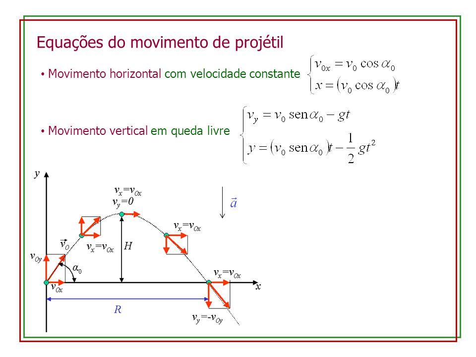 Equações do movimento de projétil Movimento horizontal com velocidade constante Movimento vertical em queda livre 0