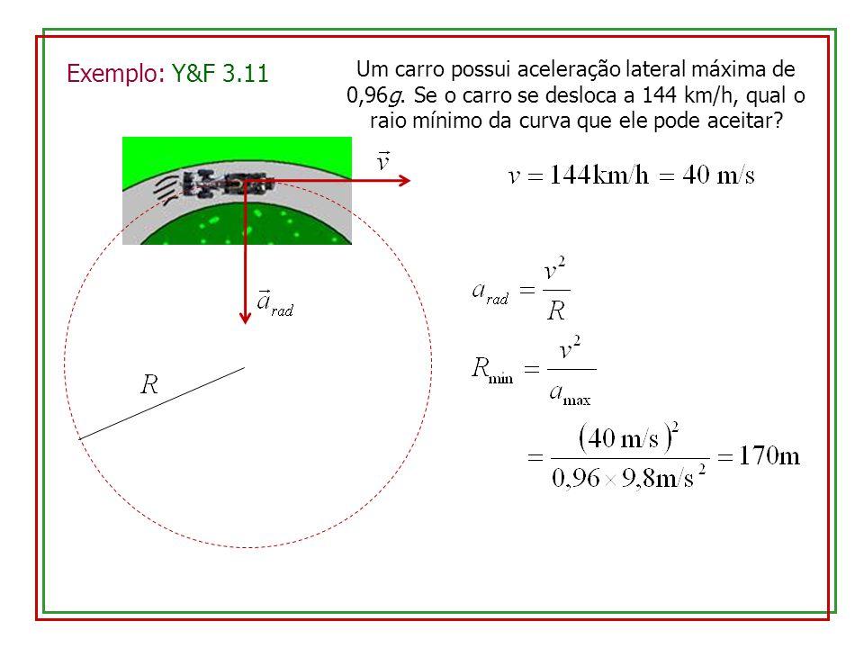 Exemplo: Y&F 3.11 Um carro possui aceleração lateral máxima de 0,96g.