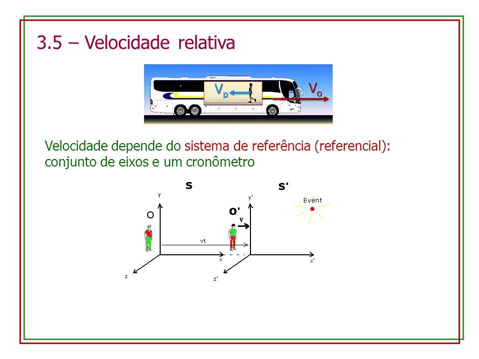 3.5 – Velocidade relativa Velocidade depende do sistema de referência (referencial): conjunto de eixos e um cronômetro