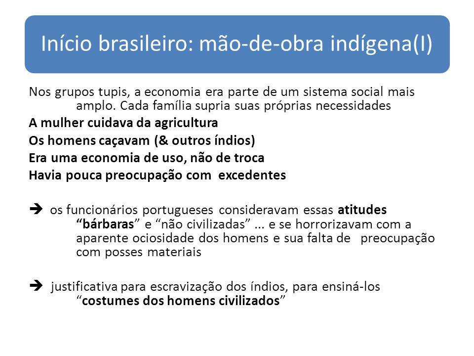 Início brasileiro: mão-de-obra indígena(I) Nos grupos tupis, a economia era parte de um sistema social mais amplo. Cada família supria suas próprias n