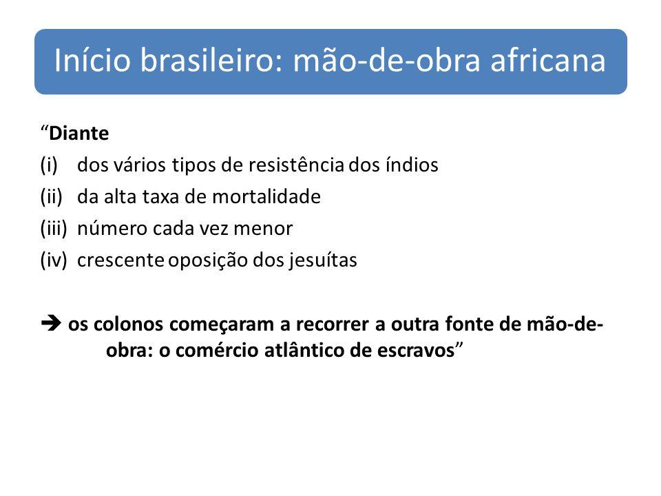 Início brasileiro: mão-de-obra africana Diante (i)dos vários tipos de resistência dos índios (ii)da alta taxa de mortalidade (iii)número cada vez menor (iv)crescente oposição dos jesuítas os colonos começaram a recorrer a outra fonte de mão-de- obra: o comércio atlântico de escravos