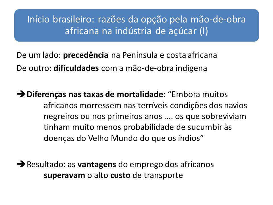 Início brasileiro: razões da opção pela mão-de-obra africana na indústria de açúcar (I) De um lado: precedência na Península e costa africana De outro