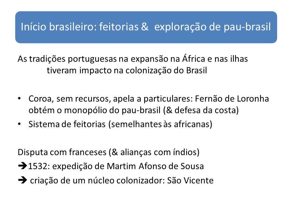 Início brasileiro: feitorias & exploração de pau-brasil As tradições portuguesas na expansão na África e nas ilhas tiveram impacto na colonização do B