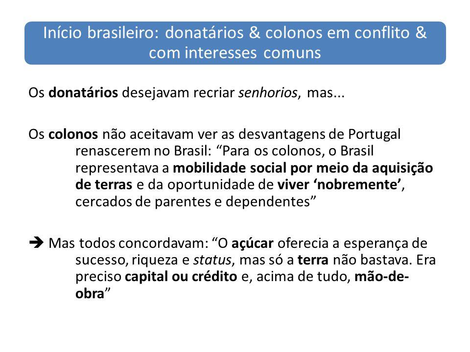 Início brasileiro: donatários & colonos em conflito & com interesses comuns Os donatários desejavam recriar senhorios, mas... Os colonos não aceitavam