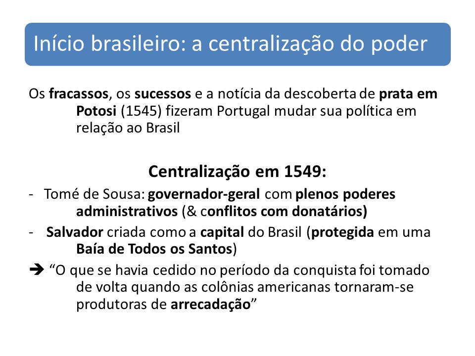 Início brasileiro: a centralização do poder Os fracassos, os sucessos e a notícia da descoberta de prata em Potosi (1545) fizeram Portugal mudar sua p