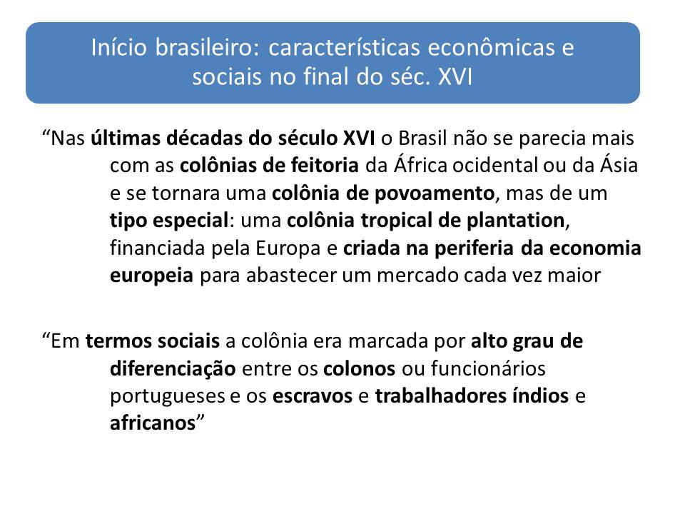 Início brasileiro: características econômicas e sociais no final do séc. XVI Nas últimas décadas do século XVI o Brasil não se parecia mais com as col