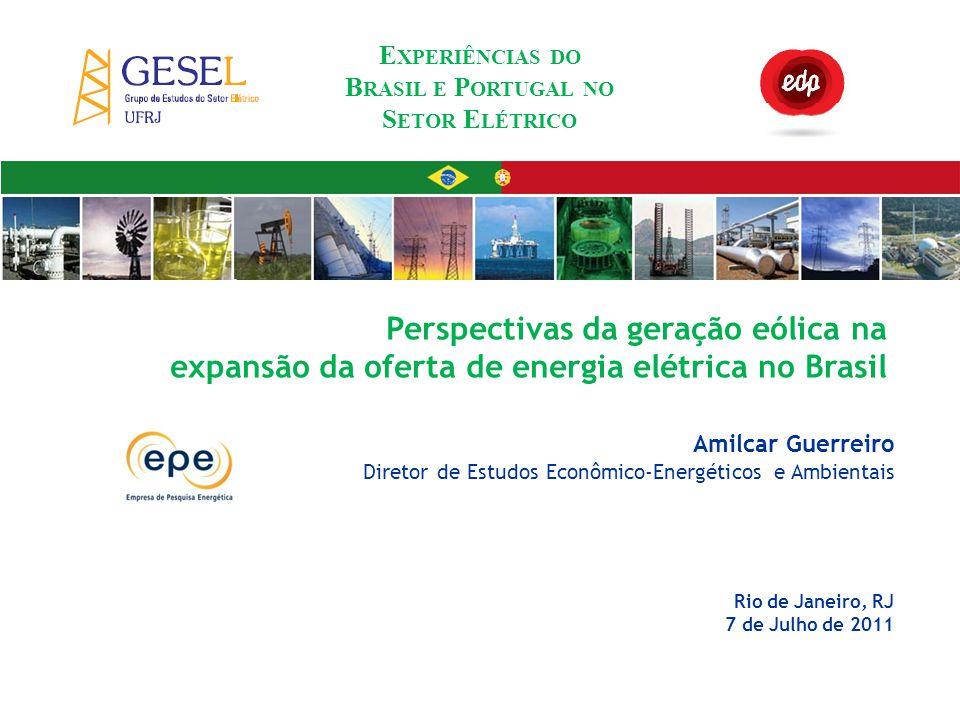AGENDA 1Energia eólica no sistema elétrico brasileiro 2Evolução da energia eólica no Brasil 3Considerações finais Perspectivas da geração eólica na expansão da oferta de energia elétrica no Brasil E XPERIÊNCIAS DO B RASIL E P ORTUGAL NO S ETOR E LÉTRICO