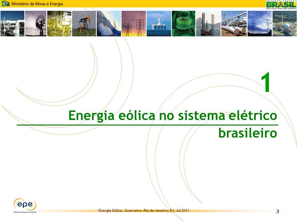 Energia Eólica. Guerreiro. Rio de Janeiro, RJ. Jul 2011 Evolução da geração eólica no Brasil 2 14