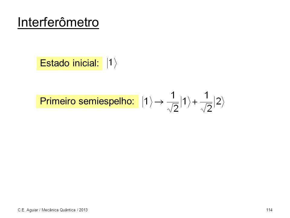 Interferômetro C.E. Aguiar / Mecânica Quântica / 2013114 Primeiro semiespelho: Estado inicial: