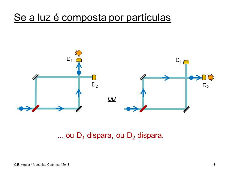Se a luz é composta por partículas...ou D 1 dispara, ou D 2 dispara.