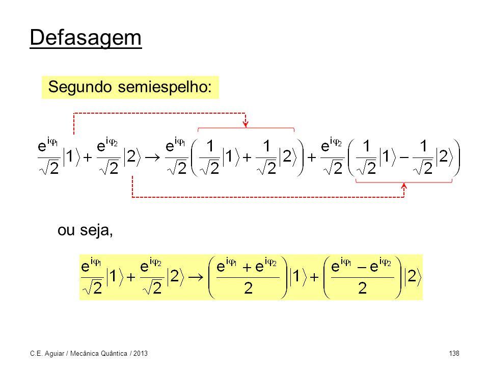 Defasagem C.E. Aguiar / Mecânica Quântica / 2013138 Segundo semiespelho: ou seja,