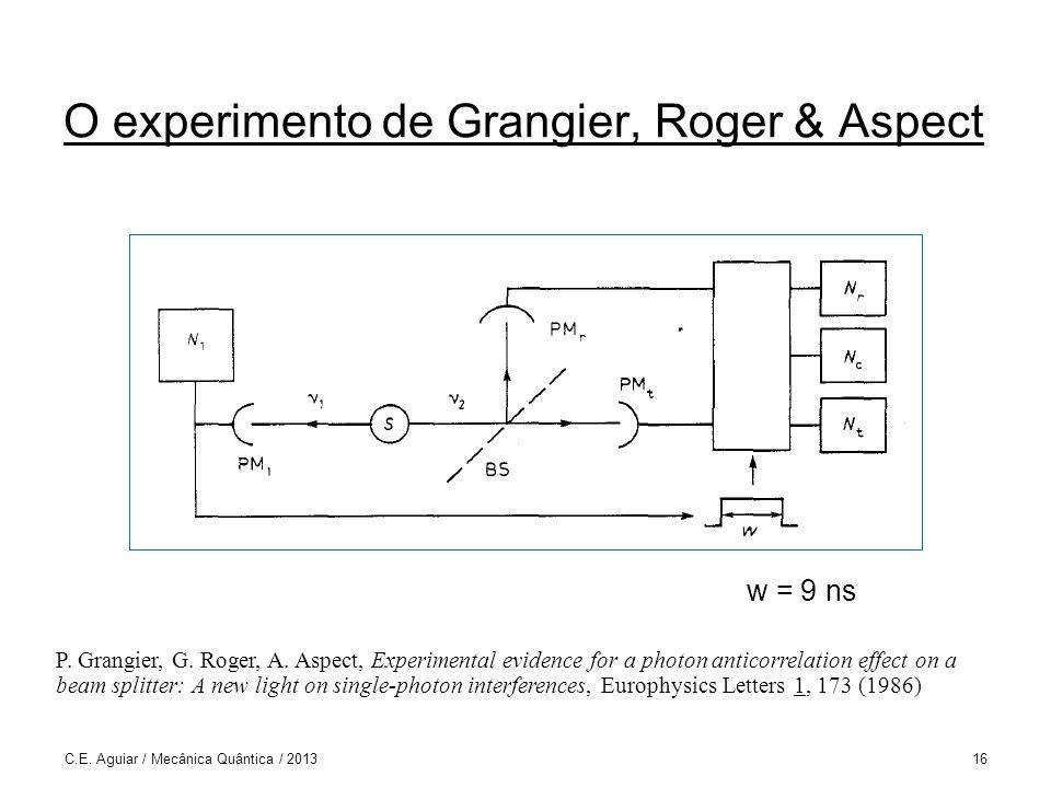 O experimento de Grangier, Roger & Aspect C.E.Aguiar / Mecânica Quântica / 201316 w = 9 ns P.