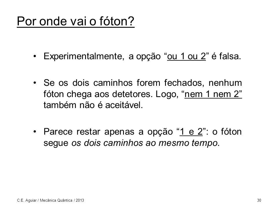 Por onde vai o fóton.Experimentalmente, a opção ou 1 ou 2 é falsa.