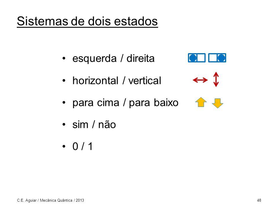 Sistemas de dois estados esquerda / direita horizontal / vertical para cima / para baixo sim / não 0 / 1 C.E.