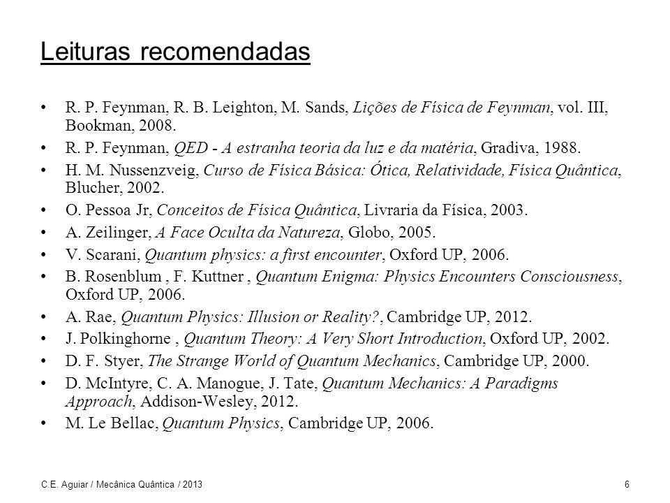 Vetores de Estado e o Princípio da Superposição C.E. Aguiar / Mecânica Quântica / 201347