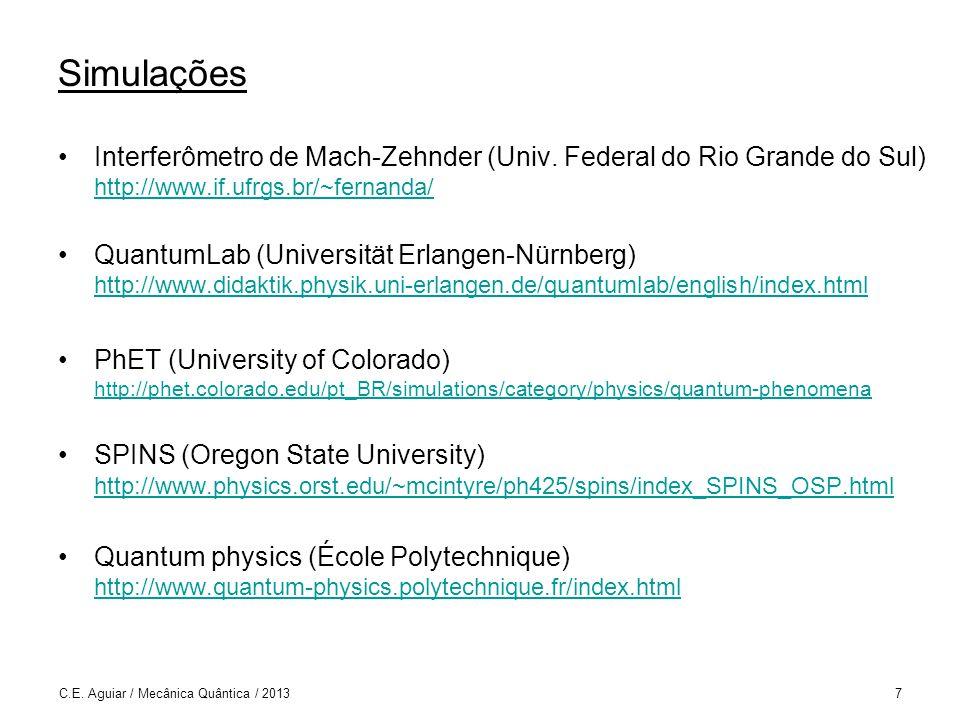 8 Sumário 1.Fenômenos quânticos 2.Princípios da mecânica quântica 3.Sistemas quânticos simples: aplicações 4.Emaranhamento 5.Realismo, contextualidade e não-localidade 6.Partículas idênticas 7.Produto escalar, operadores, autovalores e autovetores 8.Simetrias 9.Posição e momentum 10.Partícula em uma dimensão
