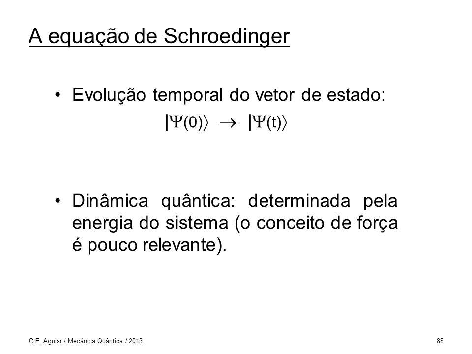 A equação de Schroedinger Evolução temporal do vetor de estado: | (0) | (t) Dinâmica quântica: determinada pela energia do sistema (o conceito de força é pouco relevante).
