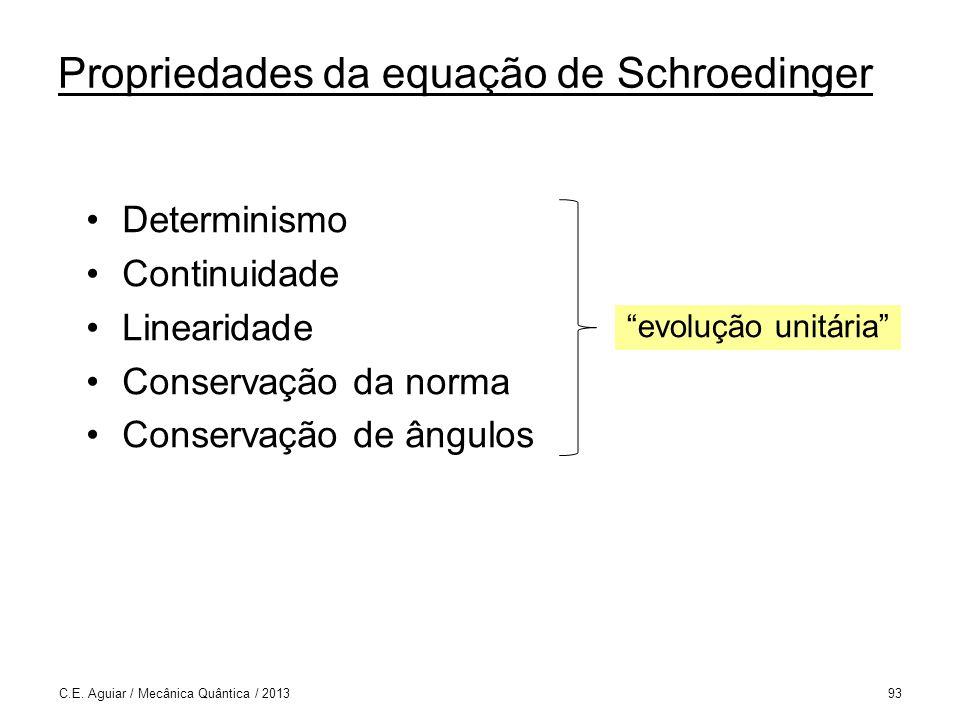 Determinismo Continuidade Linearidade Conservação da norma Conservação de ângulos C.E.