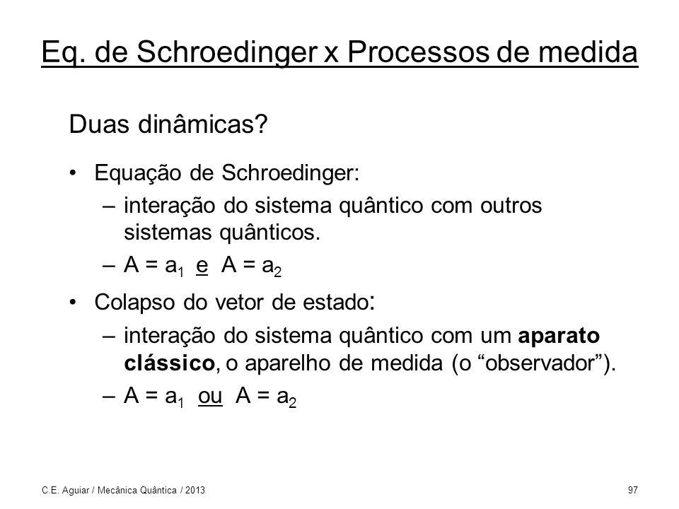 Eq.de Schroedinger x Processos de medida Duas dinâmicas.