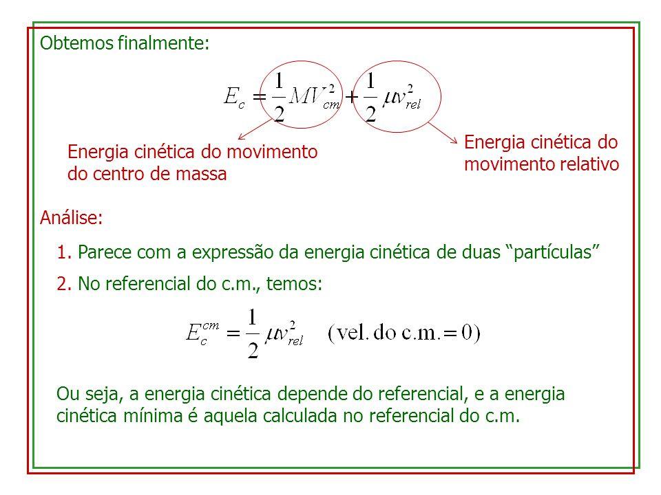 Obtemos finalmente: Energia cinética do movimento do centro de massa Energia cinética do movimento relativo Análise: 1. Parece com a expressão da ener