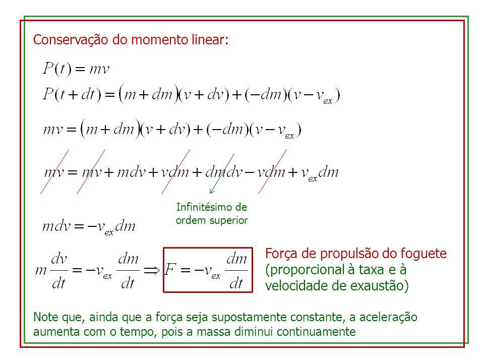Conservação do momento linear: Infinitésimo de ordem superior Força de propulsão do foguete (proporcional à taxa e à velocidade de exaustão) Note que,