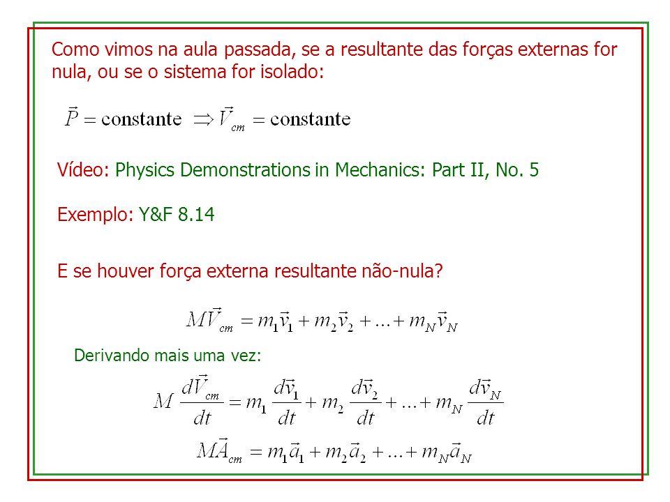 Conservação do momento linear: Infinitésimo de ordem superior Força de propulsão do foguete (proporcional à taxa e à velocidade de exaustão) Note que, ainda que a força seja supostamente constante, a aceleração aumenta com o tempo, pois a massa diminui continuamente