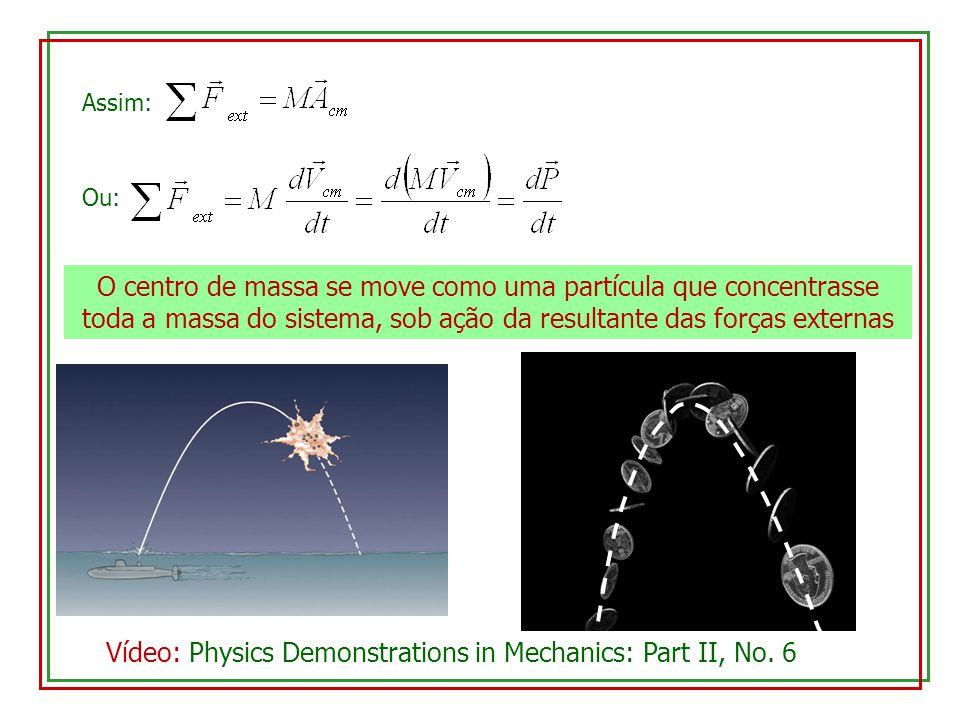 Assim: O centro de massa se move como uma partícula que concentrasse toda a massa do sistema, sob ação da resultante das forças externas Vídeo: Physic