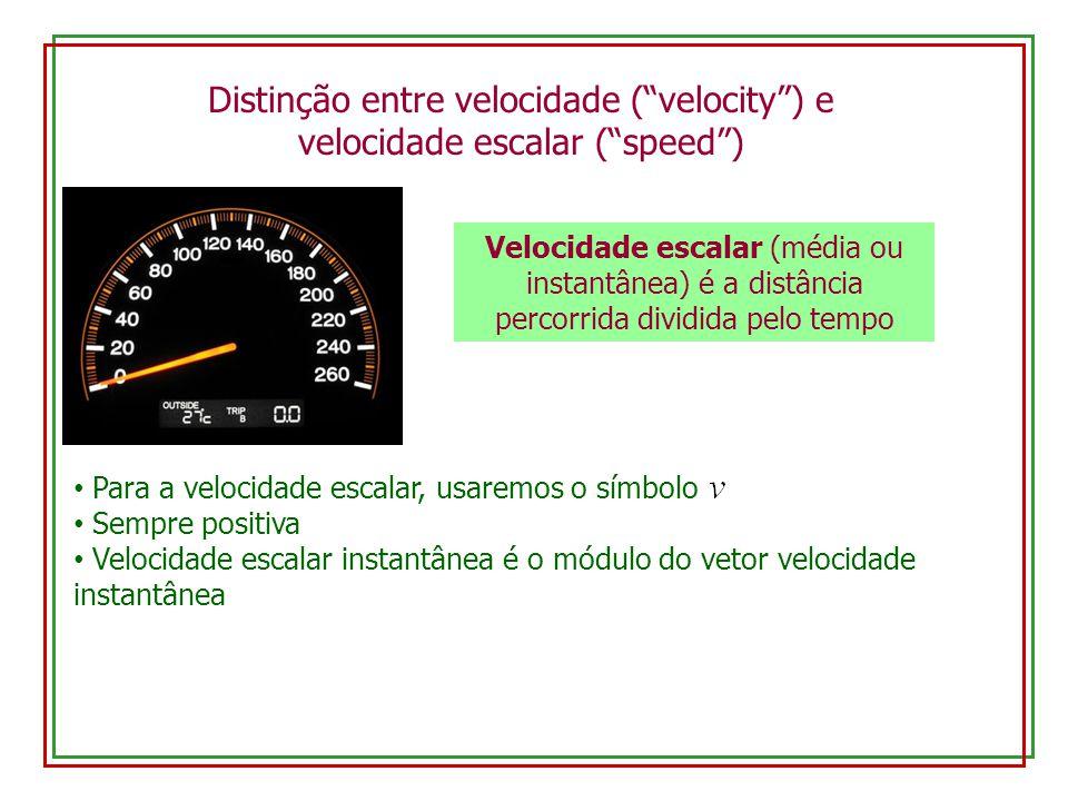 Distinção entre velocidade (velocity) e velocidade escalar (speed) Velocidade escalar (média ou instantânea) é a distância percorrida dividida pelo te
