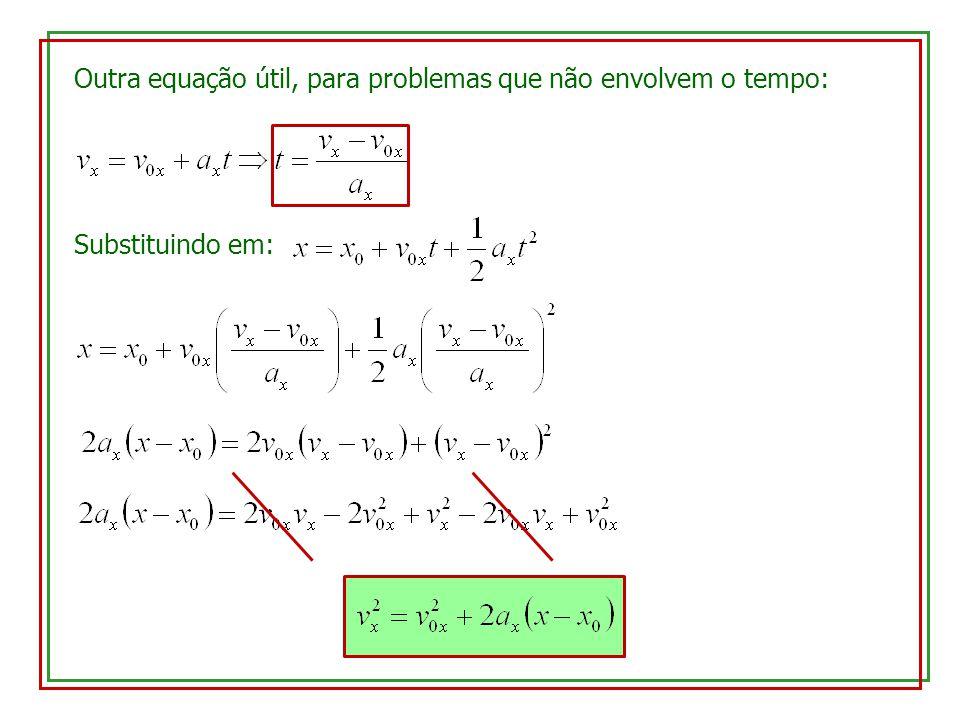 Outra equação útil, para problemas que não envolvem o tempo: Substituindo em: